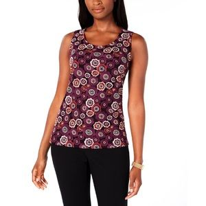TOMMY HILFIGER PURPLE FLOWER EMBROIDERED TANK TOP